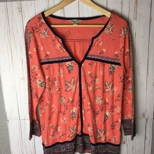 Lucky Brand Floral Border-Print Top SZ M Coral